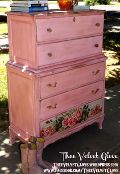Calamity Jane - Distressed Pink Tallboy Chest of Drawers