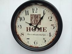 Shabby Chic Metal 'Home' Kitchen Wall Clock