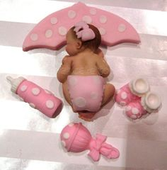 pink girl Baby Shower UMBRELLA BABY Cake Topper favor decorations Pink polka dots. $20.00, via Etsy.