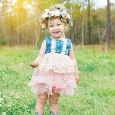 Look at our Sweet Olivia Claire showing off this adorable Denim tutu dress and stunning floral crown!!! Perfect for a country wedding!!!  Dress 29.99 ruffles-bowties-bowtique.myshopify.com