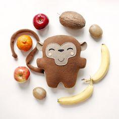 soft toy cute plushie personalized by Bambaks Cute Plush, Plushies, Wool Felt, Gifts For Kids, Monkey, Kawaii, Toys, Handmade, Small Stuff