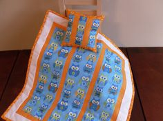 Owl Doll Quilt and Pillow with bright orange accent color Doll Bedding, Doll Quilt, Doll Beds, Owl Print, Soft Pillows, White Trim, Accent Colors, Cotton Fabric, Bright