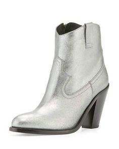 Saint Laurent Cutris 80mm Western Ankle Boot, Silver