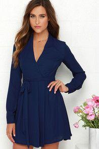 Tie, Tie Again Navy Blue Long Sleeve Wrap Dress at Lulus.com!
