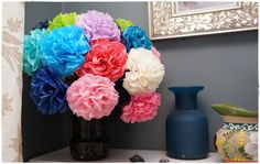 Tissue Paper Flowers 12 count Choose Your by PrincessApprovedShop