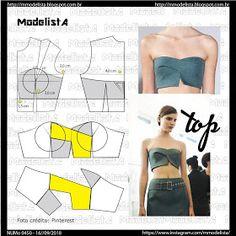 Modelista post no 0450 top Fashion Sewing, Diy Fashion, Ideias Fashion, Moda Fashion, Fashion Details, Womens Fashion, Sewing Clothes Women, Diy Clothing, Dress Sewing Patterns