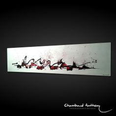 Tableau rouge, noir et blanc : Peinture abstraite, contemporaine & décorative  Technique : Acrylique sur toile. Dimensions : 100 x 25cm