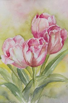 Tulip Painting, China Painting, Ranunculus Flowers, Hibiscus Flowers, Watercolor Flowers, Watercolor Paintings, Exotic Flowers, Purple Flowers, Flower Art