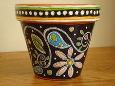 Hand Painted Terracotta Pot 4 InchPaisley Sale by ThePaintedPine. $10.00, via Etsy.