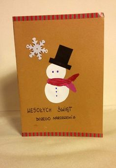 Kartka świąteczna - bałwanek gentleman  grudzień 2015 #christmas #snowman