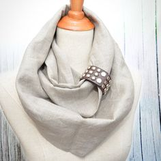 Linen Infinity Scarf. Chunky Scarf. Natural Linen. Oatmeal. Brown cuff.