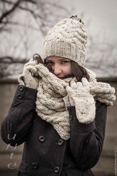 Купить ШАПКА ШАРФ вязаные ФЕМИНА/ФРАНКИ Комплект - белый, шапка вязаная, шапка с помпоном