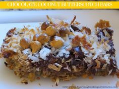 """Chocolate Butterscotch Coconut Bars - The trick to a great dessert bar is to bake the base layer first to help it """"set"""" before adding all those yummy toppings and returning it to the oven."""
