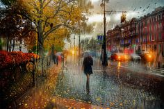 Rainy Day Pictures Look Like Oil Paintings. Russian photographer Eduard Gordeev, based in basé à Saint-Petersburg, creates urban pictures during rainy days. Street scenes are caught through a window to take the effect produced by the rain drops on it. Creations offer a result that is closed to oil paintings.