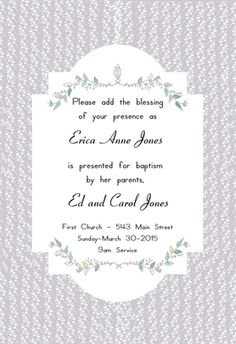 Free Printable Baptism & Christening Invitation - Floral Stripes | Greetings Island