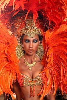 Costume Section for Tribes:Osage Trinidad Carnival Costumes 2010 - Rosenmontag Beautiful People, Beautiful Women, Beautiful Brazilian Women, Trinidad Carnival, Color Naranja, Orange Color, Orange Bird, Orange Orange, Ideias Fashion