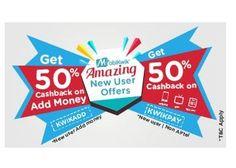 Mobikwik Coupons Code KWIKADD , KWIKPAY : Mobikwik New User 50% Cashback Offer