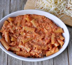 Easy Two-Cheese Baked Rigatoni Recipe Rigatoni Recipes, Baked Rigatoni, Curry, Cheese, Baking, Ethnic Recipes, Easy, Food, Curries