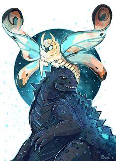 Godzilla and Mothra in the afternoon by on DeviantArt All Godzilla Monsters, Godzilla Comics, Godzilla Godzilla, Furry Comic, Anime Furry, King Kong, T Rex, Chibi, Fantasy Art