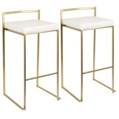 Pull up to the counter and enjoy your meal with the Lumisource Fuji Bar Stool. This stool has a metal frame, giving it a modern style. It has a faux leather seat, which looks like genuine leather. Featuring a low back, this bar stool has a more minim Gold Bar Stools, Counter Stools, Bar Furniture, Furniture Deals, Furniture Outlet, Online Furniture, Affordable Furniture, Furniture Hardware, Discount Furniture