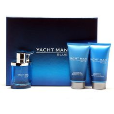 Yacht Man Blue 3.4 Edt Spray/5.1 After Shave Balm/5.1 Shower Gel ($21) ❤ liked on Polyvore featuring beauty products and nocolor