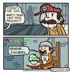That's what you get for being a turtle mass murderer! #SundayFunnies by #BigFootJustice!  #Mario #1up #incarceration #execution #SuperMario #MarioBros #SuperMarioBros #Nintendo #NES #BigFootJusticeComics