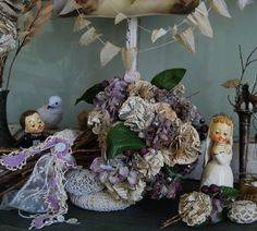 vintage paper flower wedding bouquet   emmy, you could use for the throw bouquet.... neat keepsake!!