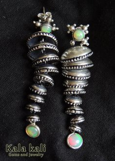 Fascinatingly Colorful Dangling Silver Earrings by KalaKali, €340.00
