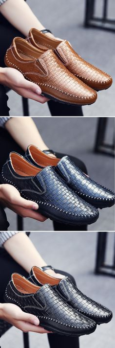 Men Woven Pattern Stitching Slip On Leather Loafers Flat Casual Shoes Casual Loafers, Leather Loafers, Loafers Men, Casual Shoes, Mens Fashion Shoes, Fashion Moda, Urban Fashion, Jordan Shoes For Women, Man Weave