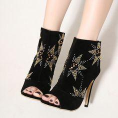 Black Elegant Rhinestone Open Toe Stilettos Heels