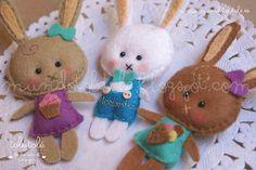 Bunnies felt brooches