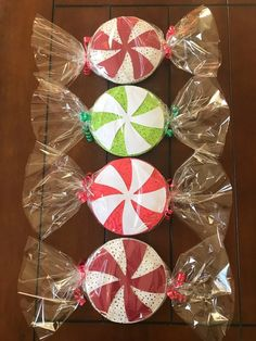 Your place to buy and sell all things handmade Big Peppermint Candy Decorations set of Gingerbread Christmas Decor, Candy Land Christmas, Grinch Christmas Decorations, Gingerbread Decorations, Candy Decorations, Christmas Crafts, Xmas, Christmas Parade Floats, Christmas Door