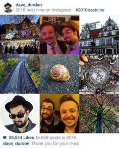 My nine 'best' instagram posts of 2016!  I agree with that choice yep! :D  It resembles and portrays my year pretty well I just don't know how to interpret the snail shell yet...   #vlogdave #2016bestnine #selfie #bearded #instagood #instadaily #youtuber #photography #fotografie #photographer #photographyislife #pictures #photographs #getgermanized #friendship!#bestnine #review #endofyear #me #ich #colors #colorful #snapshot #beautiful #exploring #explorer