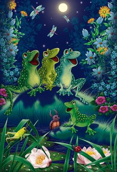 birthday for him Funny Frogs, Cute Frogs, Frog Pictures, Cute Pictures, Art Fantaisiste, Frog Illustration, Frog Art, Frog And Toad, Whimsical Art