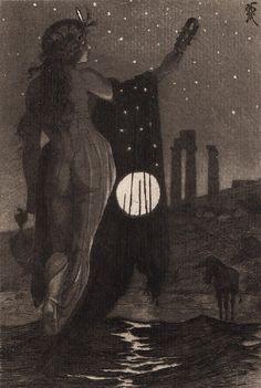 Attune to the Moon Art by Martin van Maële Moon Art, Art Photography, Illustration, Ancient, Fantasy Art, Occult, Painting, Art, Dark Art