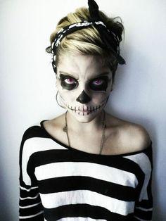 halloween schminkideen in schwarz-weiß