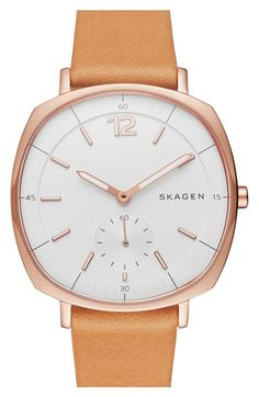Skagen 'Rungsted' Leather Strap Watch, 34mm available at #Nordstrom