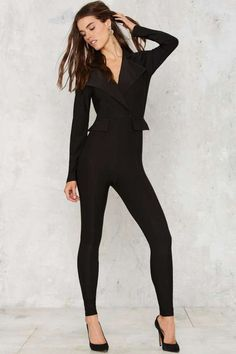 Swank Us Later Tux Jumpsuit - Rompers + Jumpsuits : Long Sleeve