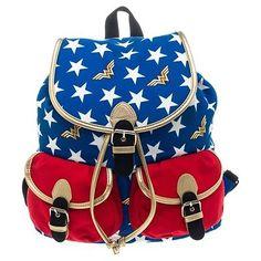 Official Wonder Woman Red White and Blue Knapsack Backpack Bag - DC Comics Logo