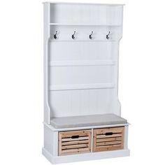 Landhaus Garderobe mit Sitzbank inkl. Sitzkissen, 2 Holzboxen und 4 Haken, weiß: Amazon.de: Küche & Haushalt