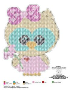 Owl girl with bow Plastic Canvas Ornaments, Plastic Canvas Tissue Boxes, Plastic Canvas Christmas, Plastic Canvas Crafts, Plastic Canvas Patterns, Beaded Cross Stitch, Cross Stitch Patterns, Holiday Canvas, Valentine Baskets