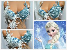 Frozen Elsa Rave Bra by TheLoveShackk on Etsy.(Beautiful, but personally, I'd have done that snowflake on the right cup differently) Rave Festival, Festival Wear, Festival Outfits, Festival Fashion, Rave Costumes, Mardi Gras Costumes, Fairy Costumes, Cosplay Costumes, Electric Daisy Carnival