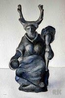 """Elen of the Ways"" British Museum Gaulish goddess with antlers from Doubs, France, circa 2nd century"