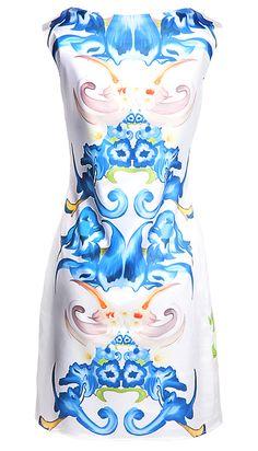 Blue Sleeveless Floral Straight Dress