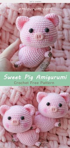 Amigurumi Little Sweet Pig Crochet Free Patterns- Free Toy So. Amigurumi Little Sweet Pig Crochet Free Patterns- Free Toy So. Bonnet Crochet, Crochet Pig, Crochet Animals, Crochet Dolls, Free Crochet, Crochet Hats, Crochet Beanie, Kids Crochet, Knit Hats