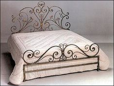 Wrought Iron Gates, fences, railing, wrought bed, wood and iron door direct from Bali Iron Furniture, Wrought Iron Beds, Headboard And Footboard, Bedroom Bed Design, Bed, Iron Decor, Beautiful Bedding, White Platform Bed, Bed Frame Design