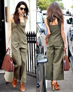 Amal Alamuddin killed the street style game on June 24, when she stepped out in an olive jumpsuit and giant earrings in London; see the photos