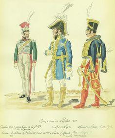 Capitano dei cavalleggeri della guardia reale, Murat e ufficiale delle velite della guardia reale del regno di Napoli