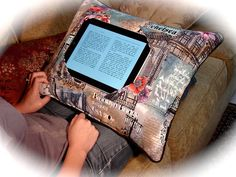iPad Pillow- Not a tutorial, just inspiration? : iPad Pillow- Not a tutorial, just inspiration? : iPad Pillow- Not a tutorial, just inspiration? Sewing Hacks, Sewing Tutorials, Sewing Patterns, Fabric Crafts, Sewing Crafts, Sewing Projects, Diy Projects, Reading Pillow, Small Notebook