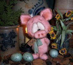 "Primitive Spring Fuzzy Pink Pig 5"" Doll ★ Vtg Patti's Ratties Easter Piglet Bear"